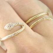 Women's Teen's Snake Ring Wrap Two Fingers with Crystal Yellow Gold Plated Size Adjustable