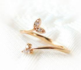 Tiny Sprout Leaf Ring Adjustable Crystal Jewelry Rose Gold Silver Free Size gift idea