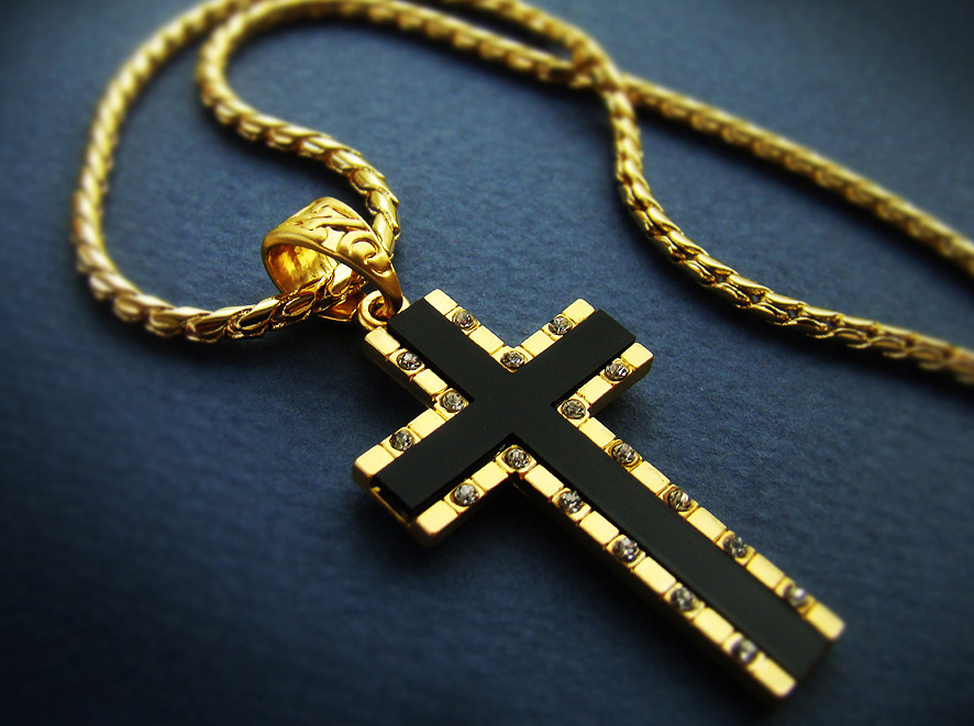 "1.57"" Mens Cross Pendant Necklace 18K Gold Plated Mens ..."