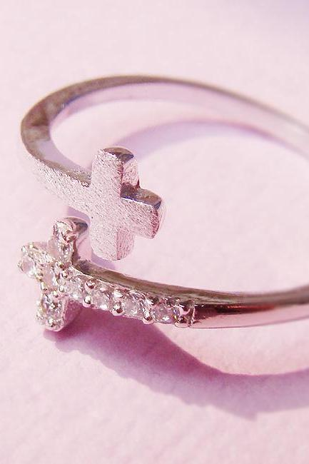 Womens Sideways Double Cross Ring with Crystal Silver Rhodium Plated Size Adjustable RC02
