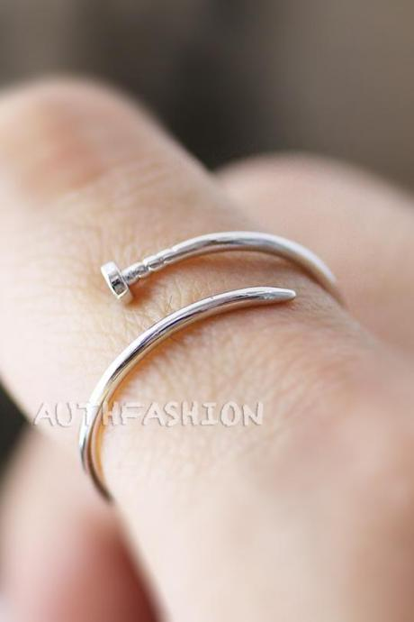 Simple Slim Nail Ring Unique Funny Ring Jewelry Silver Plated Ring gift idea byr28