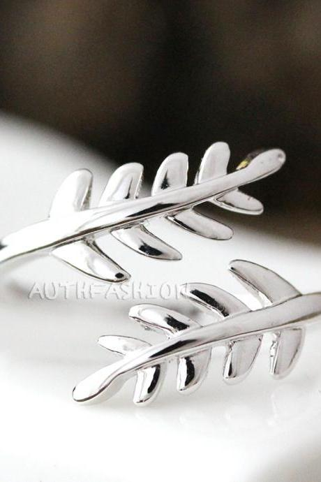 Simple Leaf Branch Ring Adjustable Twig Silver Plated Jewelry gift idea by24