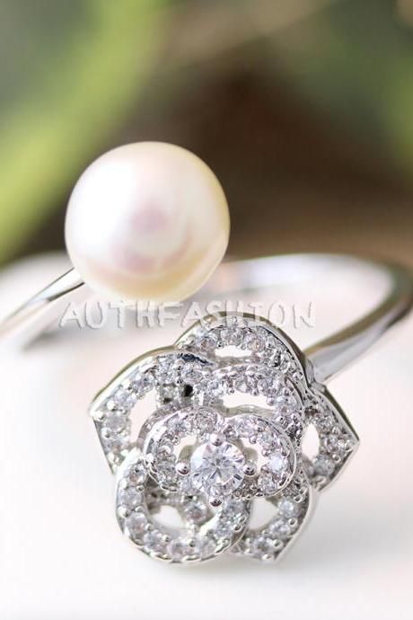 Crystal Rose Flower Pearl Ring Adjustable Ring Jewelry Silver Plated Gift Idea