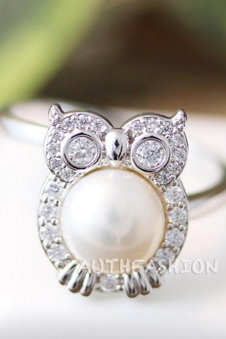 Crystal Pearl Owl Ring Women's Animal Bird Ring Jewelry Adjustable Free Size