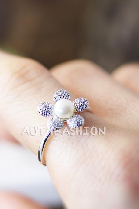 Floral Crystal Pearl Ring Adjustable Ring Jewelry Silver Plated Gift Idea BY