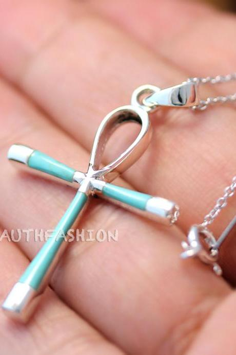 Sterling Silver Turquoise Onyx Cross Pendant Necklace Gift Idea Birth Stone qh23