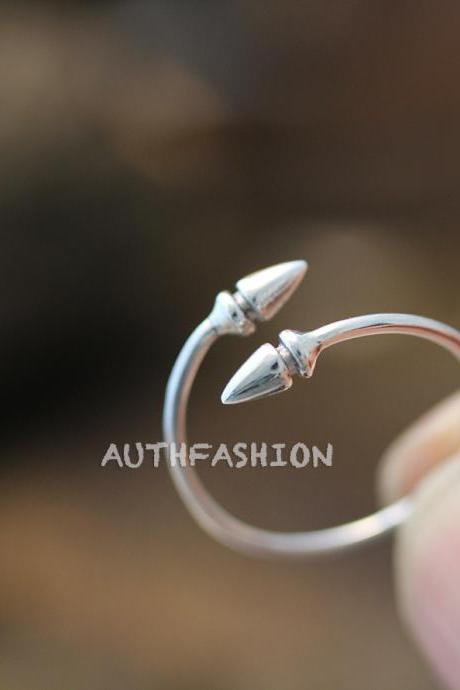 Sterling Silver Arrow Ring Spear Gift Idea Size Adjustable Simple Wrap Ring