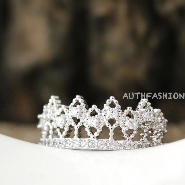 Crystal Crown Ring Tiara Ring Princess ring Size Adjustable Bridesmaid Gift Idea bycr13