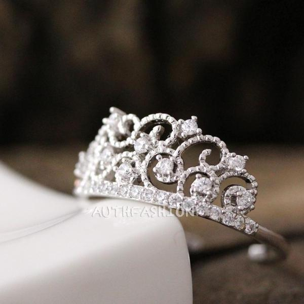 Adjustable Crystal Crown Ring Tiara Princess Stacking ring Bridesmaid bycr12