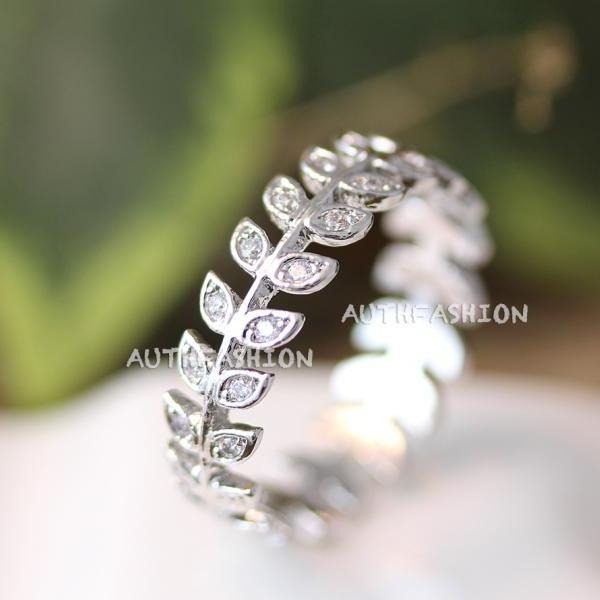 Crystal Leaf Branch Band ring Stacking Bridesmaid Kawai Princess Gift Idea BY