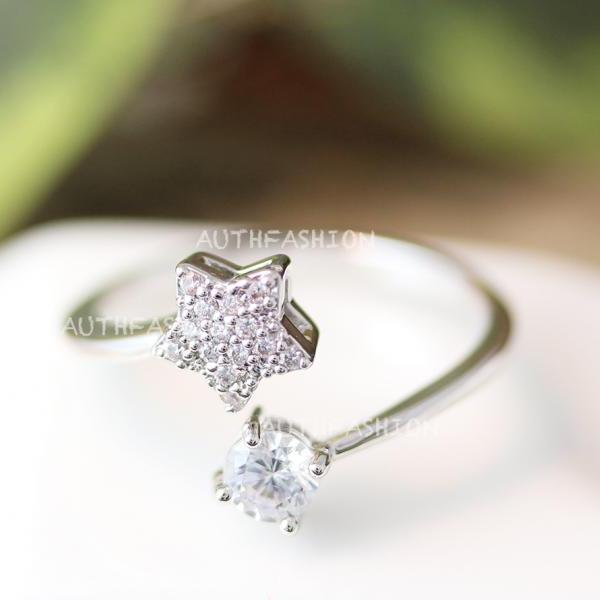 BY Crystal Star w Dot Adjustable Ring Open ring Silver Plated Jewelry gift idea