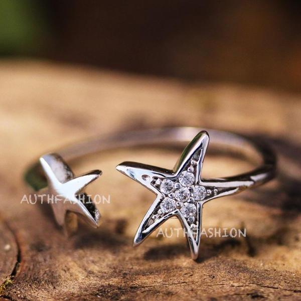 Simple Two Star Ring Adjustable Open Silver Plated Jewelry gift idea Girly Cute