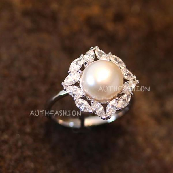 Pearl Ring Square Crystal Plain Open Ring Adjustable Ring Jewelry Silver Plated